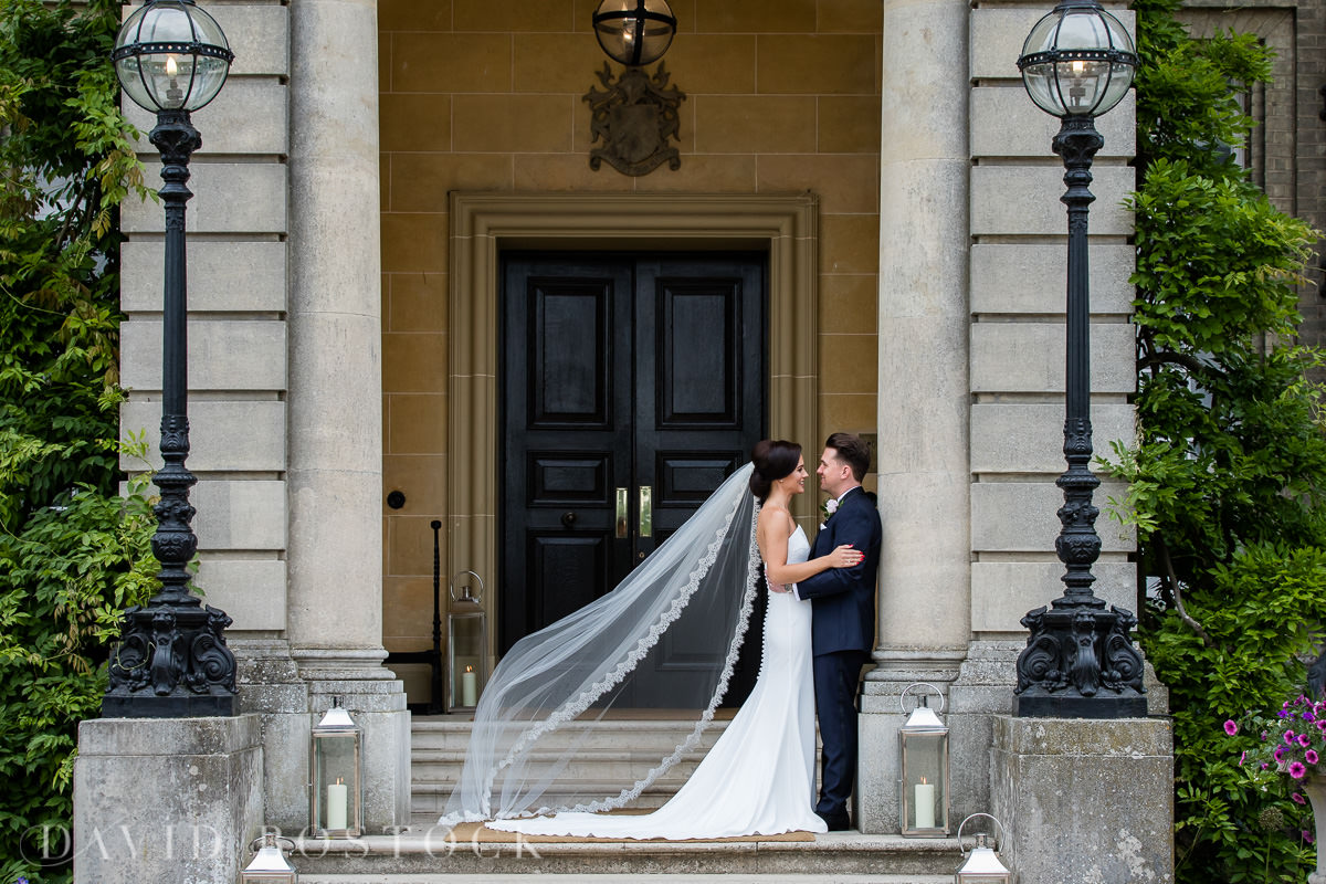 Hedsor House wedding bride and groom in doorway