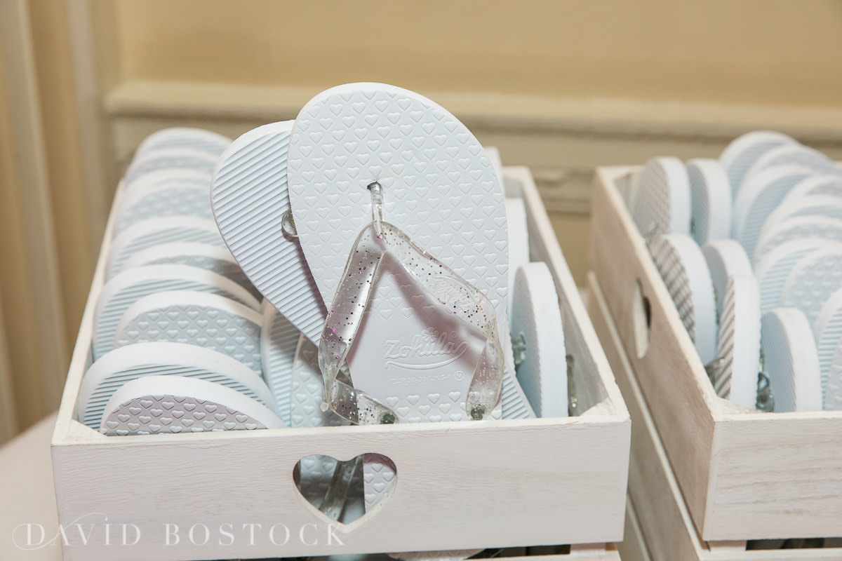 Hedsor House wedding flip flops