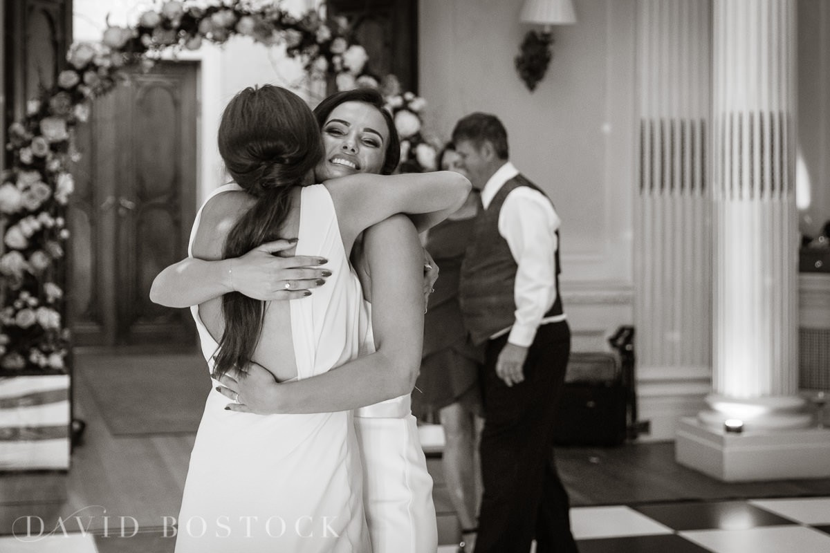Hedsor House wedding bride embrace