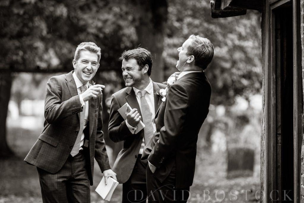 The Dairy Waddesdon wedding groomsmen laughing