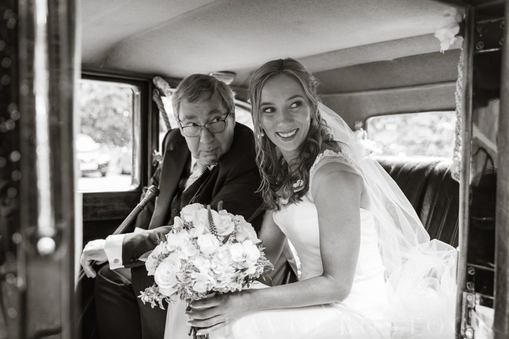 The Dairy Waddesdon wedding car bride and father