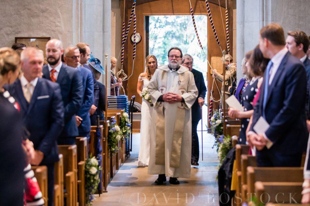 The Dairy Waddesdon wedding walking down aisle