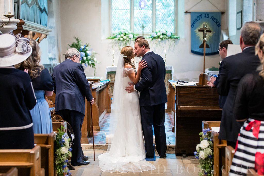 The Dairy Waddesdon wedding first kiss
