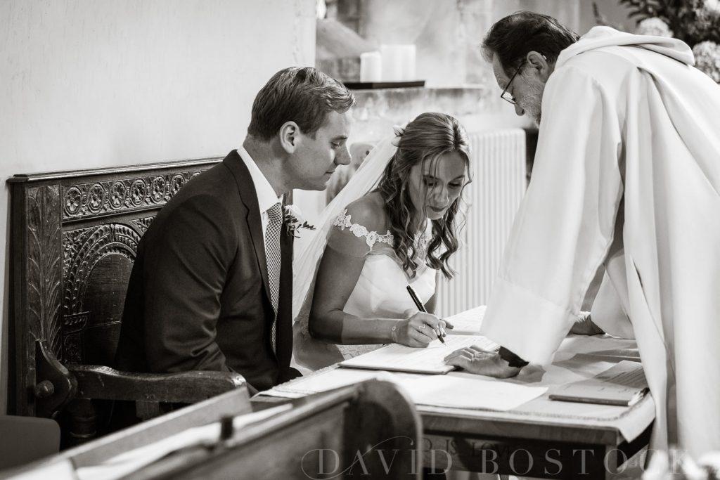 The Dairy Waddesdon wedding signing register