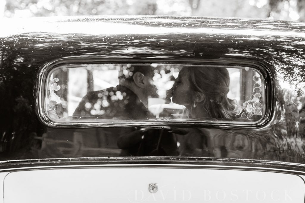 The Dairy Waddesdon wedding bride and groom in car