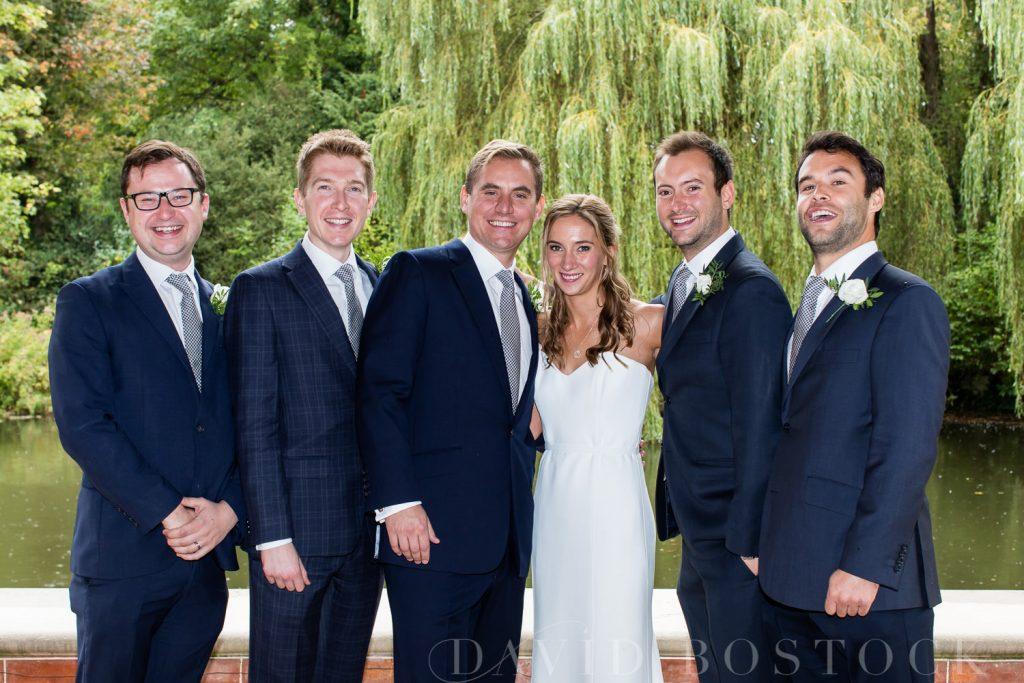The Dairy Waddesdon wedding bride and groom with groomsmen