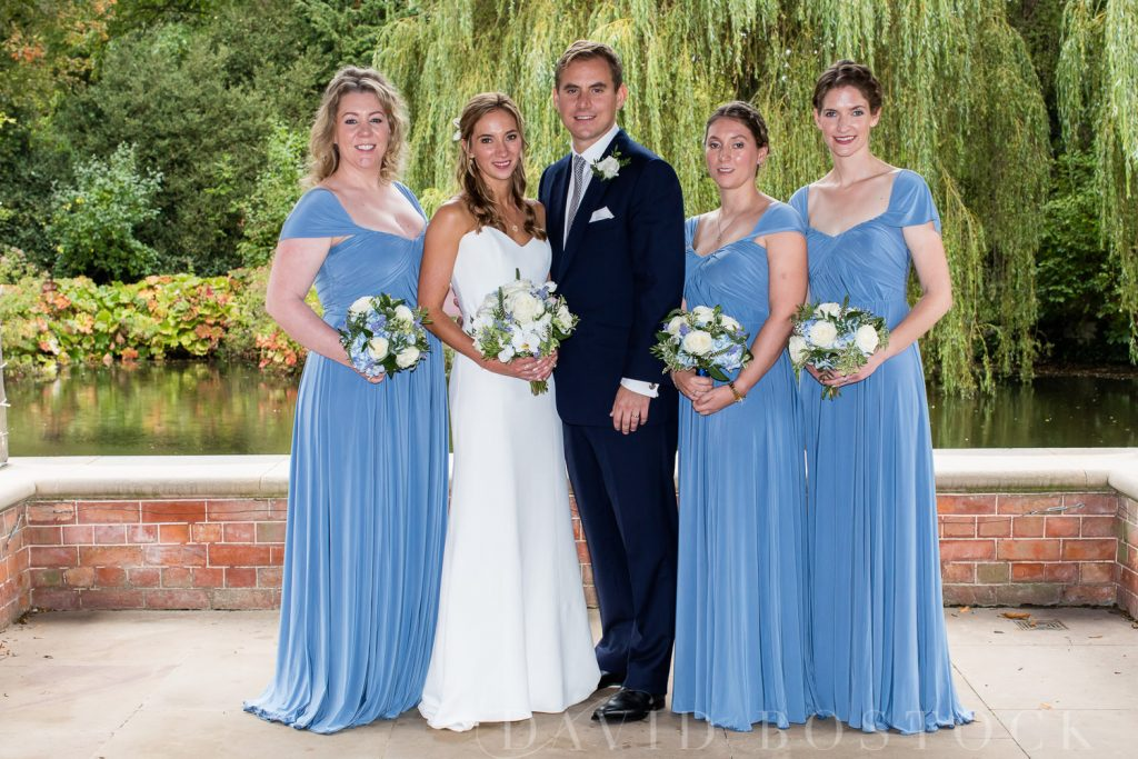 The Dairy Waddesdon wedding bride and groom with bridesmaids