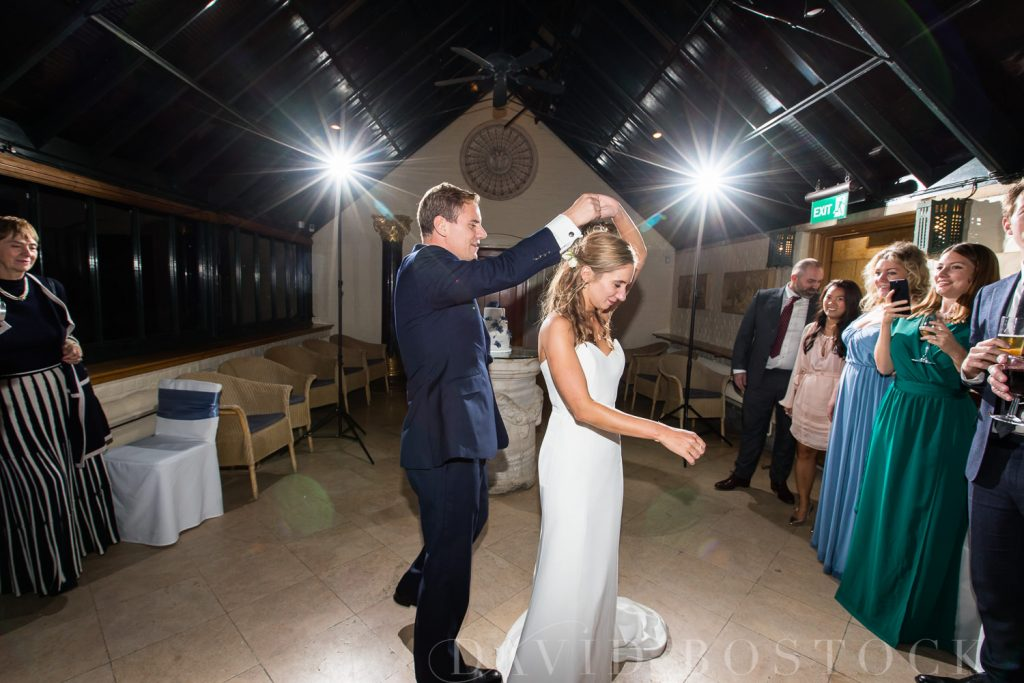 The Dairy Waddesdon wedding bride and groom first dance spin