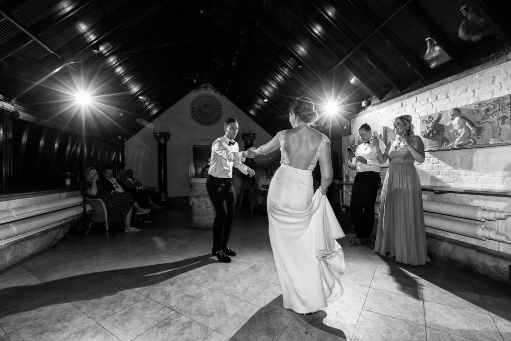 first dance for bride and groom at their waddesdon dairy wedding